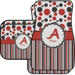 Red & Black Dots & Stripes Car Floor Mats Set - 2 Front & 2 Back (Personalized)