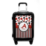 Red & Black Dots & Stripes Carry On Hard Shell Suitcase (Personalized)
