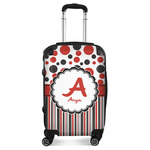Red & Black Dots & Stripes Suitcase (Personalized)