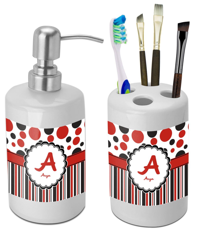 Red & Black Dots & Stripes Bathroom Accessories Set (Ceramic ...
