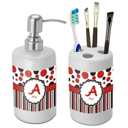 Red & Black Dots & Stripes Bathroom Accessories Set (Ceramic) (Personalized)