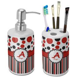 Red & Black Dots & Stripes Ceramic Bathroom Accessories Set (Personalized)