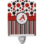 Red & Black Dots & Stripes Ceramic Night Light (Personalized)