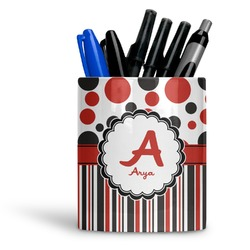 Red & Black Dots & Stripes Ceramic Pen Holder