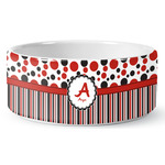 Red & Black Dots & Stripes Ceramic Dog Bowl (Personalized)