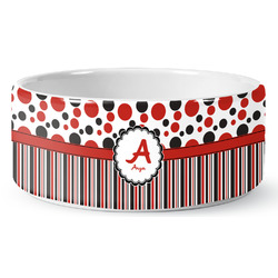 Red & Black Dots & Stripes Pet Bowl (Personalized)