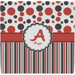 Red & Black Dots & Stripes Ceramic Tile Hot Pad (Personalized)