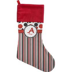 Red & Black Dots & Stripes Christmas Stocking (Personalized)