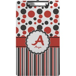Red & Black Dots & Stripes Clipboard (Legal Size) (Personalized)