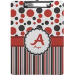 Red & Black Dots & Stripes Clipboard (Personalized)