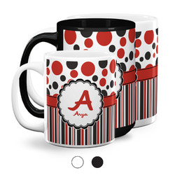 Red & Black Dots & Stripes Coffee Mugs (Personalized)