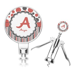 Red & Black Dots & Stripes Corkscrew (Personalized)