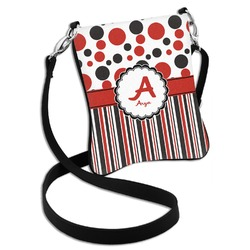 Red & Black Dots & Stripes Cross Body Bag - 2 Sizes (Personalized)