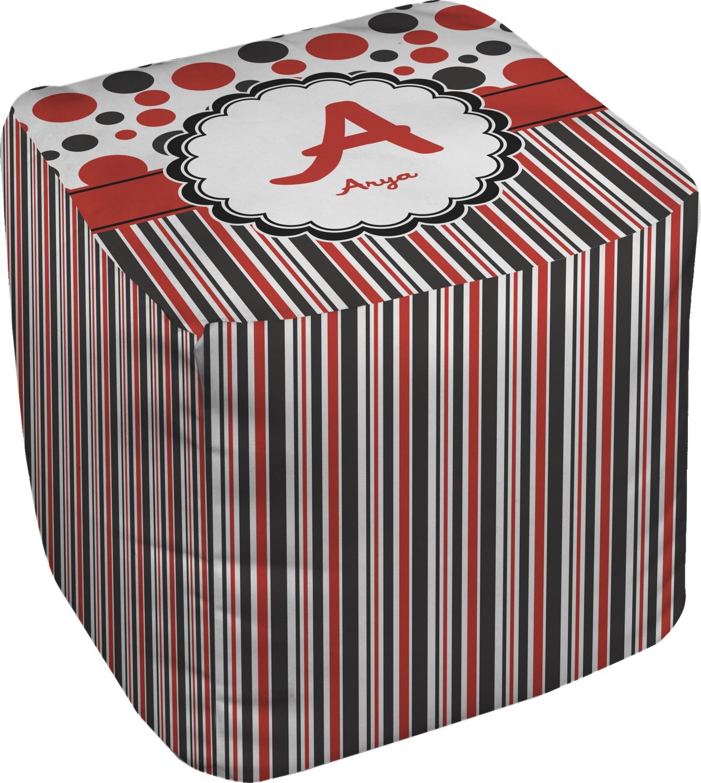 Red & Black Dots & Stripes Cube Pouf Ottoman - 18 ...
