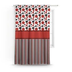 Red & Black Dots & Stripes Curtain (Personalized)