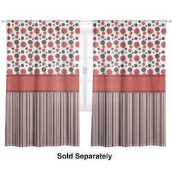 "Red & Black Dots & Stripes Curtains - 20""x54"" Panels - Lined (2 Panels Per Set) (Personalized)"