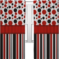 Red & Black Dots & Stripes Curtains (2 Panels Per Set) (Personalized)