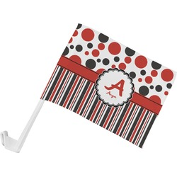 Red & Black Dots & Stripes Car Flag (Personalized)