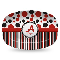 Red & Black Dots & Stripes Plastic Platter - Microwave & Oven Safe Composite Polymer (Personalized)