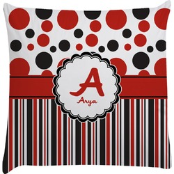 Red & Black Dots & Stripes Decorative Pillow Case (Personalized)