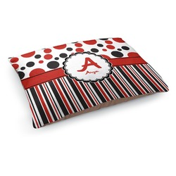 Red & Black Dots & Stripes Dog Pillow Bed (Personalized)