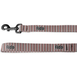 Red & Black Dots & Stripes Deluxe Dog Leash (Personalized)