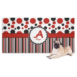 Red & Black Dots & Stripes Pet Towel (Personalized)