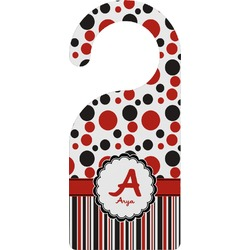 Red & Black Dots & Stripes Door Hanger (Personalized)