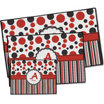 Red & Black Dots & Stripes Door Mat (Personalized)