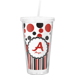 Red & Black Dots & Stripes Double Wall Tumbler with Straw (Personalized)
