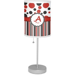 """Red & Black Dots & Stripes 7"""" Drum Lamp with Shade (Personalized)"""