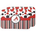Red & Black Dots & Stripes Dish Drying Mat w/ Name and Initial