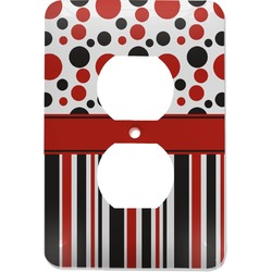 Red & Black Dots & Stripes Electric Outlet Plate (Personalized)