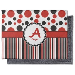 Red & Black Dots & Stripes Microfiber Screen Cleaner (Personalized)
