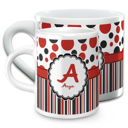 Red & Black Dots & Stripes Espresso Cups (Personalized)