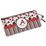 Red & Black Dots & Stripes Genuine Leather Eyeglass Case (Personalized)