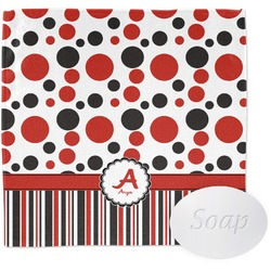 Red & Black Dots & Stripes Wash Cloth (Personalized)