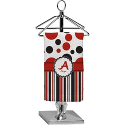 Red & Black Dots & Stripes Finger Tip Towel - Full Print (Personalized)
