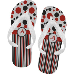 Red & Black Dots & Stripes Flip Flops (Personalized)