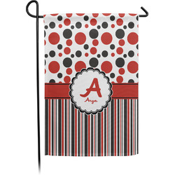 Red & Black Dots & Stripes Garden Flag - Single or Double Sided (Personalized)