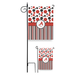 Red & Black Dots & Stripes Garden Flag (Personalized)