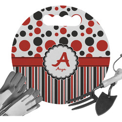 Red & Black Dots & Stripes Gardening Knee Cushion (Personalized)