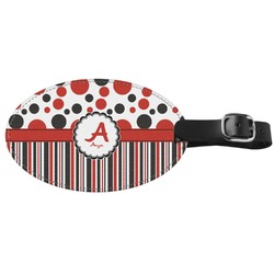 Red & Black Dots & Stripes Genuine Leather Oval Luggage Tag (Personalized)