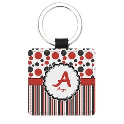 Red & Black Dots & Stripes Genuine Leather Rectangular Keychain (Personalized)