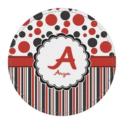 Red & Black Dots & Stripes Round Desk Weight - Genuine Leather  (Personalized)