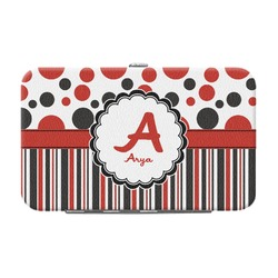 Red & Black Dots & Stripes Genuine Leather Small Framed Wallet (Personalized)
