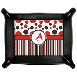 Red & Black Dots & Stripes Genuine Leather Valet Tray (Personalized)
