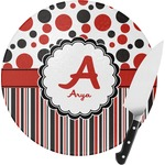 Red & Black Dots & Stripes Round Glass Cutting Board (Personalized)