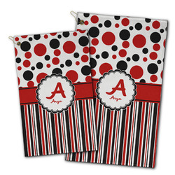 Red & Black Dots & Stripes Golf Towel - Full Print w/ Name and Initial