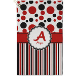 Red & Black Dots & Stripes Golf Towel - Full Print - Small w/ Name and Initial